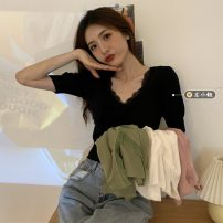 Wool knitwear Summer 2021 Average size White, black, skin pink, beige Short sleeve singleton  Socket other 30% and below have cash less than that is registered in the accounts routine commute Self cultivation V-neck puff sleeve Solid color Socket Korean version 18-24 years old