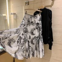 skirt Spring 2021 S,M,L,XL White printing longuette commute High waist Pleated skirt Decor Type A More than 95% Chiffon cotton printing