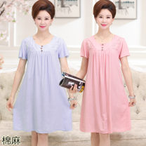 Middle aged and old women's wear Summer of 2019 Blue, pink L [suitable for 100-120 kg], XL [suitable for 120-150 kg] Home Dress easy singleton  Solid color 40-49 years old Socket thin square neck Medium length Button 51% (inclusive) - 70% (inclusive) Medium length other