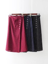 skirt Spring of 2018 S,M,L,XS Burgundy, Navy Mid length dress street High waist 18-24 years old 31% (inclusive) - 50% (inclusive) Europe and America