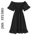 Dress Summer 2021 black S, M Mid length dress singleton  Short sleeve commute One word collar High waist Solid color Socket Ruffle Skirt Lotus leaf sleeve Others 18-24 years old Type A Korean version 71% (inclusive) - 80% (inclusive) other other