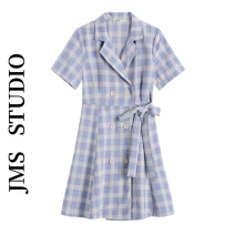 Dress Summer 2021 violet S,M,L Short skirt singleton  Short sleeve commute tailored collar High waist lattice double-breasted A-line skirt routine Others 18-24 years old Type A Korean version 51% (inclusive) - 70% (inclusive) cotton