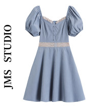 Dress Summer 2021 blue S,M,L Short skirt singleton  Short sleeve commute square neck High waist Solid color Socket A-line skirt puff sleeve Others 18-24 years old Type A Korean version 51% (inclusive) - 70% (inclusive) other other