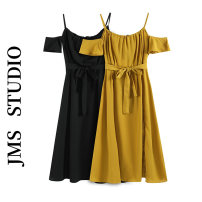Dress Summer 2021 Ginger, black S, M Mid length dress singleton  Short sleeve commute Crew neck High waist Solid color Socket A-line skirt other Others 18-24 years old Type A Korean version 71% (inclusive) - 80% (inclusive) other