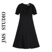 Dress Summer 2021 black S,M,L Mid length dress singleton  Short sleeve commute square neck High waist Solid color Socket A-line skirt puff sleeve Others 18-24 years old Type A Korean version 31% (inclusive) - 50% (inclusive)