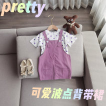 suit Other / other Polka top, purple suspender skirt, purple suspender skirt + Polka top 80cm,90cm,100cm,110cm,120cm,130cm female summer Korean version Short sleeve + skirt 2 pieces routine Socket Wave point other Other 100% Seven, eight, three, six, five, four, ten, nine Chinese Mainland
