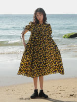 Dress Summer 2021 Yellow printing XXS, XS, s, m, l, XXS second batch on April 30, XS second batch on April 30, s second batch on April 30, m second batch on April 30, l second batch on April 30 Mid length dress Short sleeve commute Crew neck Broken flowers 25-29 years old Simplicity More than 95%