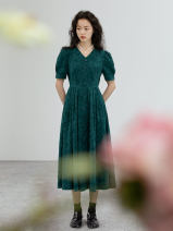 Dress Spring 2021 turquoise  XXS,XS,S,M,L longuette Two piece set Short sleeve commute V-neck High waist Single breasted A-line skirt bishop sleeve 25-29 years old Type A Simplicity 51% (inclusive) - 70% (inclusive)