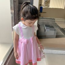 Dress Pink dress female Other / other Tag 90, recommended 80-90cm, tag 100, recommended 90-100cm, tag 110, recommended 100-110cm, tag 120, recommended 110-120cm, tag 130, recommended 120-130cm, tag 140, recommended 130-140cm Other 100% summer Sweet Short sleeve bow cotton Strapless skirt other