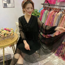 Dress Spring 2021 black Average size Mid length dress singleton  Long sleeves commute V-neck Loose waist Solid color Socket other routine Others 40-49 years old Type H Forests of Byzantium Retro 91% (inclusive) - 95% (inclusive) Crepe de Chine silk