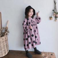 Dress Hu Lan Bo Dian skirt fo-761, pink purple Bo Dian skirt fo-761 female Other / other 80cm,90cm,100cm,110cm,120cm,130cm,140cm Cotton 100% spring and autumn Korean version Short sleeve Dot cotton