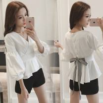 shirt Black, white S,M,L,XL,XXL Autumn 2020 other 96% and above Short sleeve commute V-neck Single row multi button bishop sleeve Solid color 18-24 years old High waist type Korean version Bows, ties, buttons