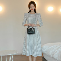 Dress Winter of 2019 Picture color S. M, l, XL, s premium, m premium, l premium, XL premium singleton  three quarter sleeve commute Crew neck High waist lattice zipper A-line skirt routine Others 25-29 years old Type X lady 51% (inclusive) - 70% (inclusive) other polyester fiber