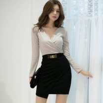 Dress Winter 2020 Picture color S. M, l, XL, s premium, m premium, l premium, XL premium Short skirt Two piece set Long sleeves commute V-neck High waist stripe zipper One pace skirt routine Others 25-29 years old Type X Korean version Pleats, stitches, zippers