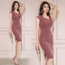 Dress Spring 2021 Picture color S. M, l, XL, s premium, m premium, l premium, XL premium Short skirt singleton  Sleeveless commute V-neck High waist Solid color zipper One pace skirt other Others 25-29 years old Type H lady 71% (inclusive) - 80% (inclusive) brocade polyester fiber