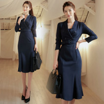 Dress Spring of 2019 Navy, red S. M, l, XL, s premium, m premium, l premium, XL premium longuette singleton  Long sleeves commute V-neck Solid color Socket One pace skirt other Others 25-29 years old Type H Ol style Fold, tie, splice 51% (inclusive) - 70% (inclusive) brocade polyester fiber