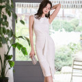 Dress Summer of 2019 White, watermelon red S. M, l, XL, s high grade fabric, m high grade fabric, l high grade fabric, XL high grade fabric Middle-skirt singleton  Sleeveless commute Crew neck middle-waisted Solid color zipper One pace skirt Others Type X Korean version Ruffles, folds, zippers