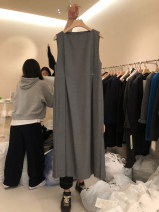 Dress Spring 2021 Gray, black S,M,L,XL longuette singleton  Sleeveless commute Crew neck Loose waist Solid color Socket A-line skirt routine 25-29 years old Type A Korean version 30% and below