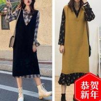 Vest Autumn 2020 Plaid one-piece dress, floral one-piece dress, black one-piece sweater vest, yellow one-piece sweater vest, plaid skirt suit, floral skirt suit S,M,L,XL,2XL,3XL