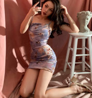 Dress Autumn of 2019 Picture color S,M,L Short skirt singleton  Sleeveless street One word collar middle-waisted Pencil skirt camisole Europe and America