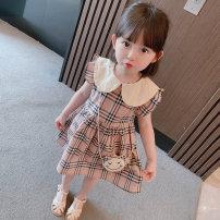 Dress Dark brown female Other / other 90cm (recommended height about 90cm), 100cm (recommended height about 100cm), 110cm (recommended height about 110cm), 120cm (recommended height about 120cm), 130cm (recommended height about 130cm) Cotton 90% other 10% summer Korean version lattice cotton other