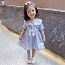 Dress Blue, pink female Other / other 90cm,100cm,110cm,120cm,130cm Cotton 90% other 10% summer Korean version Short sleeve Solid color cotton A-line skirt 12 months, 18 months, 2 years old, 3 years old, 4 years old, 5 years old, 6 years old, 7 years old, 8 years old Chinese Mainland