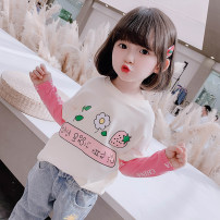 T-shirt Beige, black, white Other / other 80cm,90cm,100cm,110cm,120cm,130cm female spring and autumn Long sleeves Crew neck Korean version There are models in the real shooting cotton Cartoon animation c2161 Chinese Mainland Zhejiang Province
