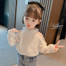 shirt white Other / other female 90cm,100cm,110cm,120cm,130cm spring and autumn Long sleeves Korean version Solid color cotton stand collar
