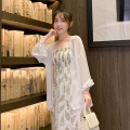 Dress Summer 2020 White coat, skirt S. M, l, XL, one size fits all Two piece set Nine point sleeve Solid color Petal sleeve 18-24 years old Fringes, folds, Auricularia auricula More than 95%