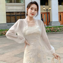 Lace / Chiffon Summer 2020 White, green S,M,L,XL Long sleeves Versatile Cardigan singleton  Self cultivation have cash less than that is registered in the accounts V-neck Solid color routine 96% and above