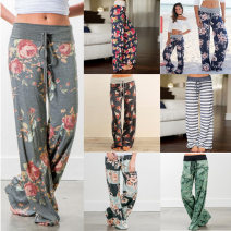 Casual pants S,M,L,XL,2XL,3XL Summer of 2018 trousers Wide leg pants Natural waist street routine 81% (inclusive) - 90% (inclusive) 0447A polyester fiber printing and dyeing polyester fiber Europe and America