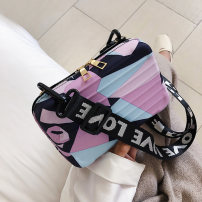 Bag The single shoulder bag PU Small square bag Other / other brand new Small leisure time zipper no Single root One shoulder cross nothing youth Square box Soft handle Embossing