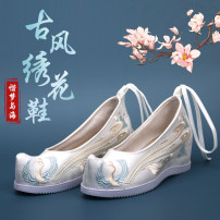 Low top shoes 35,36,37,38,39,40 Other / other other plastic cement Slope heel High heel (5-8cm) Shallow mouth cloth Winter 2020 Frenulum ethnic style plastic cement Single shoes