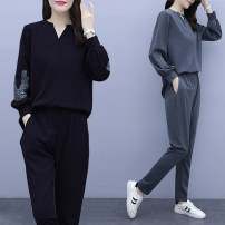 Women's large Autumn 2020 Gray, black L [recommended 90-110 kg], XL [recommended 110-120 kg], 2XL [recommended 120-140 kg], 3XL [recommended 140-160 kg], 4XL [recommended 160-180 kg], 5XL [recommended 180-200 kg] Two piece set commute easy moderate Socket Long sleeves Solid color Korean version other