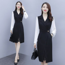 Women's large Autumn 2020 Picture color L (recommended 100-115 kg), XL (recommended 115-130 kg), 2XL (recommended 130-145 kg), 3XL (recommended 145-160 kg), 4XL (recommended 160-180 kg), 5XL (recommended 180-200 kg) Dress Fake two pieces commute easy moderate Socket Long sleeves Solid color other