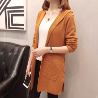 Women's large Winter 2020, autumn 2020 Black, caramel, grey XL recommends 100-135 kg, 2XL 135-170 kg, 3XL 170-200 kg Knitwear / cardigan singleton  commute easy moderate Cardigan Long sleeves Solid color Korean version Hood Medium length Three dimensional cutting routine 6581DX Scattered