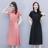 Dress Summer 2020 L recommended 100-115 kg, XL recommended 115-130 kg, 2XL recommended 130-145 kg, 3XL recommended 145-160 kg, 4XL recommended 160-180 kg, 5XL recommended 180-200 kg Mid length dress singleton  Short sleeve commute Polo collar Elastic waist Solid color 25-29 years old Scattered