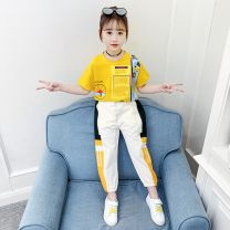 Casual suit Summer 2021 yellow 110cm [suitable for height 100-110], 120cm [suitable for height 110-120], 130cm [suitable for height 120-130], 140cm [suitable for height 130-140], 150cm [suitable for height 140-150], 160cm [suitable for height 150-160], adult m, adult L, Adult XL Under 17 cotton