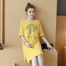 Dress Enoch Grey, pink, yellow M,L,XL,XXL Korean version Short sleeve routine summer Crew neck Solid color Space cotton