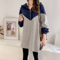 Dress Spring 2021 Blue, green Mid length dress singleton  Long sleeves commute Elastic waist Solid color Socket A-line skirt routine 25-29 years old Tagkita / she and others Korean version other