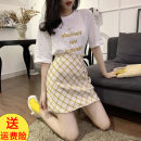 Women's large Summer 2020 Yellow, blue Large L, large XL, s, M skirt Two piece set Sweet easy moderate Socket Short sleeve Lattice, letter Crew neck routine routine Three dimensional decoration Short skirt solar system