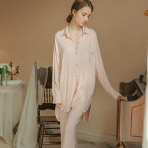 Pajamas / housewear set female Other / other S,M,L,XL White, pink Polyester (polyester) Long sleeves Simplicity pajamas spring routine Small lapel Solid color trousers double-breasted youth 2 pieces rubber string modal  Button decoration