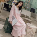 Nightdress Other / other White, blue, pink M (recommended 85-120 kg), l (recommended 120-140 kg) Sweet Long sleeves pajamas longuette spring Solid color youth cotton Mosaic decoration More than 95% pure cotton
