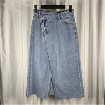 skirt Spring 2021 S,M,L Wash water blue Mid length dress Versatile High waist A-line skirt Solid color Type H 18-24 years old More than 95% cotton