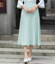 skirt Spring of 2019 Average size Dark green, pink Mid length dress Versatile Natural waist other Type A Other / other