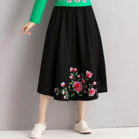 skirt Autumn of 2019 Average size black Mid length dress commute Natural waist A-line skirt Type A 51% (inclusive) - 70% (inclusive) Other / other hemp Embroidery ethnic style