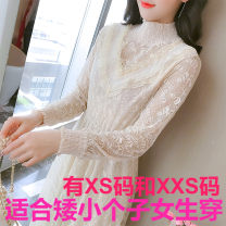 Dress Winter 2020 Apricot, black Xs, s, m, l, XL, XXS genuine small 145-155 Mid length dress Fake two pieces Long sleeves Sweet Crew neck middle-waisted Solid color Socket Princess Dress routine Others 18-24 years old Zhenyaluo More than 95% other other