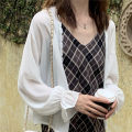 Lace / Chiffon Summer of 2019 white Average size Long sleeves commute Cardigan singleton  easy have cash less than that is registered in the accounts V-neck Solid color routine 18-24 years old Splicing Korean version 96% and above polyester fiber