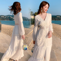 Dress Spring 2020 Picture color S,M,L,XL longuette singleton  Nine point sleeve V-neck High waist other routine Others 18-24 years old 9838#ook 91% (inclusive) - 95% (inclusive) Lace