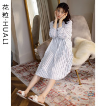 Nightdress Flower grain 69126 striped nightdress 160 (female M) [in stock], 165 (female L) [in stock], 170 (female XL) [in stock] Sweet Long sleeves Leisure home longuette autumn stripe youth V-neck cotton printing More than 95% pure cotton H69126 200g and below